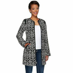 NWT DENNIS BASSO LONG ZIP FRONT PRINTED JACKET 4